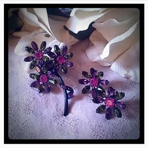 Vintage Rich Jewel Tones Flowers Brooch & Earrings
